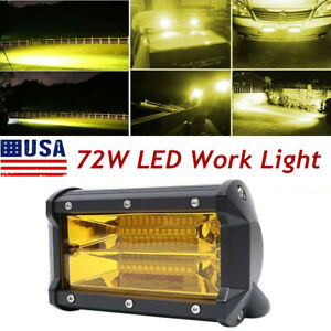 72w 24 Led Car Offroad Work Light Bar Flood Beam Fog Driving Lamp Amber Pair