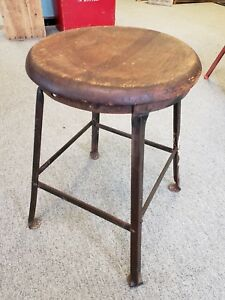 Vtg Industrial Stool Angle Iron Oak Olshan Office Furniture Drafting Machinist