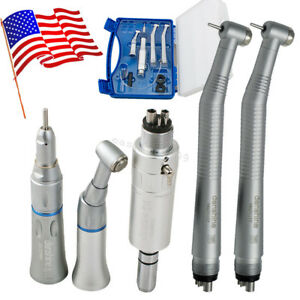 Us High Low Speed Dental Handpiece Kit 4 Hole 4h Push Button Box Turbine Fit Nsk