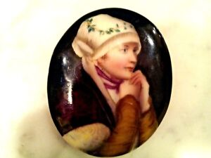 Antique 19th C German H Painted Beautiful Lady On Porcelain Small Kpm Plaque