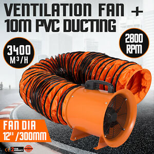 12 Extractor Fan Blower Portable 10m Duct Hose Low Noise Utility Chemical