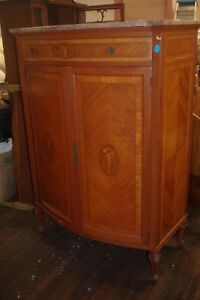 Chest Armoire Antique Oak Wood Bedroom Inlaid Flowers Marble