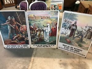 Antique 1918 Bible Prints On Cardboard Moses Jesus Netherlands Dutch