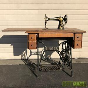 Vintage Antique Singer Treadle Sewing Machine Table Cabinet
