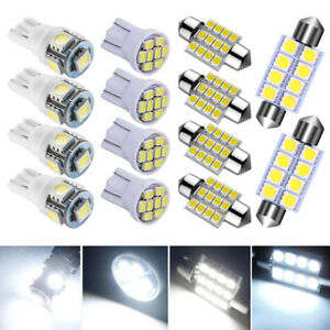 14x White Led Package Interior For Dome Map License Lights T10