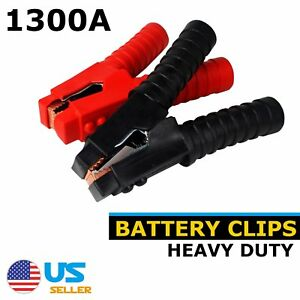 4pcs 1300a Battery Alligator Jumper Cables Clip Clamps Protection Device Vehical