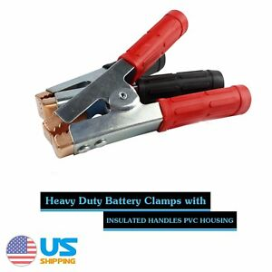 2pair 600a Heavy Duty Battery Clamp Jumper Cable Booster Secure Quick Disconnet