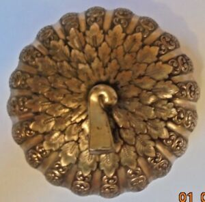 Antique Brass Trinket Dish Jewelry Holder Art Nouveau Peacock Design
