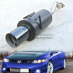 For 06 10 Civic 2 4 Dr Stainless Axle Back Exhaust Black Muffler 4 Carbon Tip