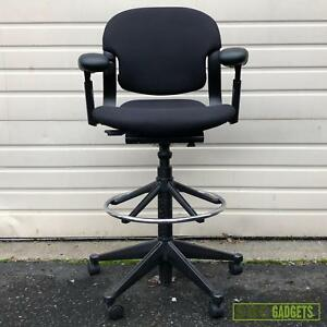 Herman Miller Black Fabric Adjustable Lumbar Stool Task Desk Rolling Chair