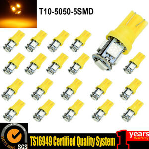 20x Car T10 Amber Yellow Led 5050 5smd Wedge Light Bulb W5w 194 168 2825 158 192