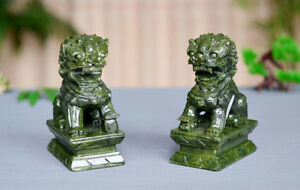 A Pair 100 Natural China Green Jade Carved Fengshui Foo Fu Dog Guard Door Lion