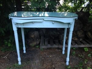 Vintage Kidney Desk Vanity Dressing Table Fold Out Arms With Glass Top French