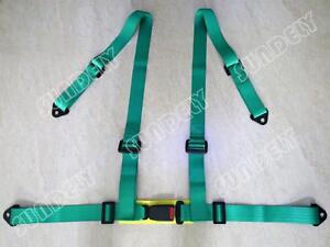 Sundely 3 4 Point Green Racing Seat Belt Harness Kit For Car Off Road 4x4 Us