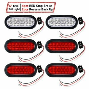 Kit 4x Red 2x White 6 Oval 24 led Stop Brake Lamp Reverse Back Up Tail Lights