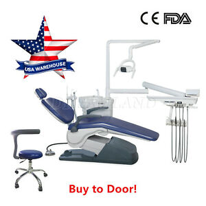 Dental Patient Exam Chair Unit Computer Controlled Dc Motor Hard Leather Stools