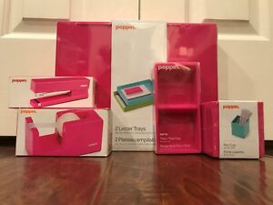 Set Of Pink Poppin Office Desk Accessories New