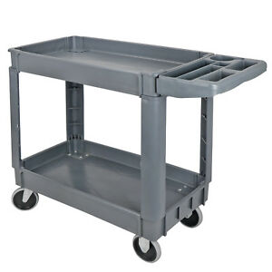 33 In 2 Shelf Rolling Plastic Service Utility Cart Tray Casters Wheels Tool Box