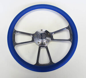 1967 Olds Cutlass 442 Delta Blue And Billet Steering Wheel 14 Shallow Dish
