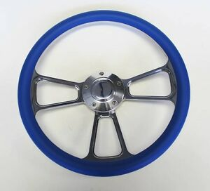 Blazer C10 C20 C30 Chevy Pick Up Steering Wheel Sky Blue Billet 14 Plain Cap