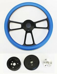 1970 s Dodge Dart Charger Demon Sky Blue Grip On Black Spokes Steering Wheel 14