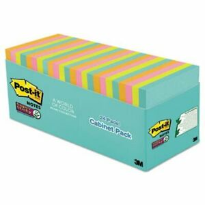 Post it Notes Super Sticky Pads In Miami Colors 24 Pads mmm65424ssmiacp