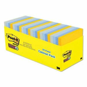 Post it Notes Super Sticky Pads New York Colors Notes 24 Pads mmm65424ssnycp