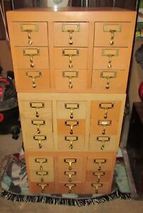 Vintage Lot Of 3 Wood Library Card Catalog Cabinets 9 Drawer Brass Pulls