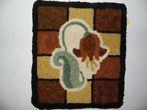 Unique Gift Primitive Hand Hooked Rug Flower 12 By 14