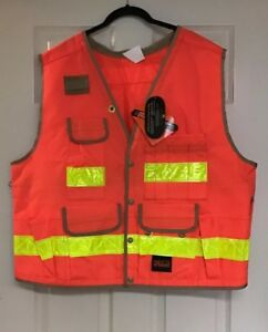 Seco Class 2 Lightweight Safety Utility Vest X large Fluorescent Orange Nwt