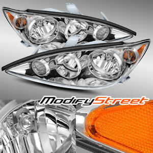 Chrome Crystal Headlights Replacement Assembly Lh Rh For 2005 2006 Toyota Camry