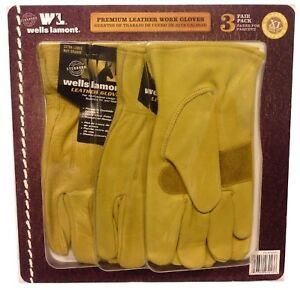 Wells Lamont Premium Leather Work Gloves 3 Pair Pack X large New