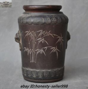 Old China Yixing Zisha Pottery Carved Beast Head Bamboo Text Cup Bottle Jar Vase