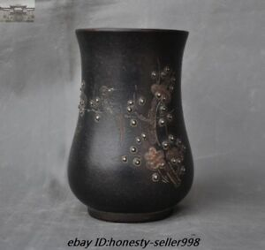 6 Old Chinese Yixing Zisha Pottery Carved Plum Magpies Bird Cup Bottle Jar Vase