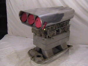 Edelbrock Chevy Tunnel Ram Intake 2x4 Holley Carbs Scoop Dual Quad Tr1 60 Era
