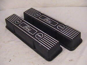 Vintage Chevy Ford Aluminum Valve Covers Mr Gasket Small Block Rare Unique Nos