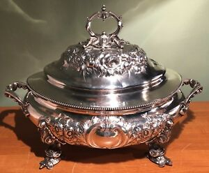 Antique Edward Moore Late Tiffany Co Sterling Silver Covered Soup Tureen 372