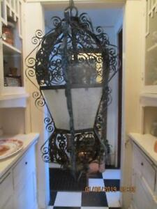 Spanish Black Wrought Iron Gothic Medieval Scroll Hanging Light Fixture