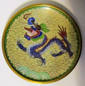Chinese Cloisonne Dragon Finely Detailed Republic Of China 4 1 4 Plate