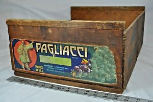 Vintage Pagliacci Wooden Crate Grape Shipping Box Original Label 17 1 2 X14 X7