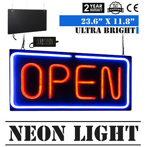Neon Open Sign 24x12 Inch Led Light 30w Horizontal 30w Shops Hanging Chain