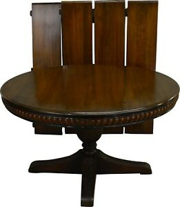 17564 Antique Mahogany Round Carved 54 Dining Table W 4 Leaves