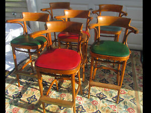 Rare Set Of 6 Antique Bentwood Thonet Style Bistro Cafe Chairs Bar Stools