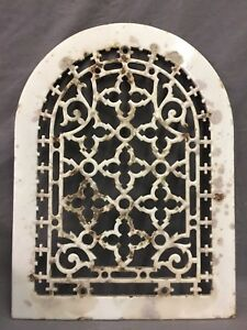 One Porcelain Antique Arched Top Heat Grate Grill Gothic Wall Arch 10x13 47 19d