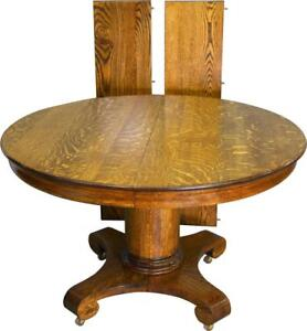 19554 Antique Round Oak Empire Dining Table