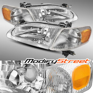 Chrome Crystal Headlights Assembly Corner Lamps Set For 98 00 Toyota Corolla