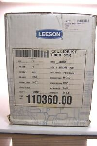 New Leeson 1 Hp Ac Electric Motor E56 Frame 3450 Rpm 1 Phase 115 208 230 Volt
