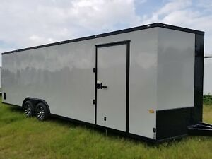 Enclosed Cargo Trailer 8 5x24 8 5 X 24 Ta Dove Gray V nose Car Hauler 20 22