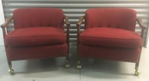 Two Mid Century Modern Lounge Chairs Wood And Red Fabric With Brass Feet Nice