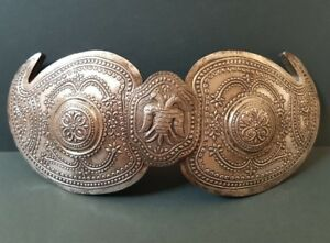 Rare Antique Ottoman Macedonian Jewelry Hand Forged Silver Alloy Belt Buckle